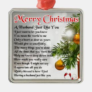 Poema del marido - diseño del navidad adorno cuadrado plateado