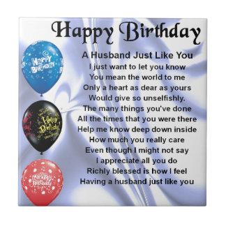 Poema del marido - feliz cumpleaños azulejo cuadrado pequeño