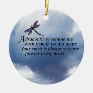 Poema del monumento de la libélula adorno navideño redondo de cerámica