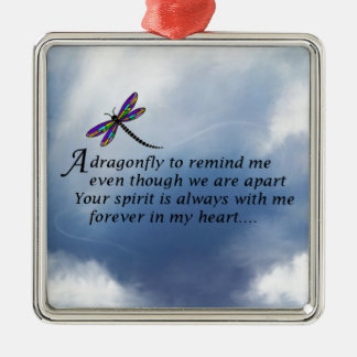 Poema del monumento de la libélula adorno cuadrado plateado