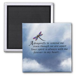 Poema del monumento de la libélula imán cuadrado