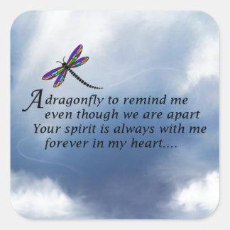Poema del monumento de la libélula pegatina cuadrada