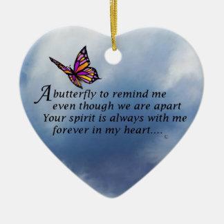 Poema del monumento de la mariposa adorno navideño de cerámica en forma de corazón
