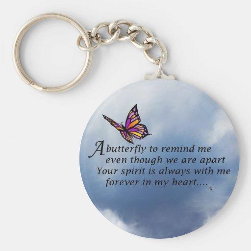Poema del monumento de la mariposa llaveros