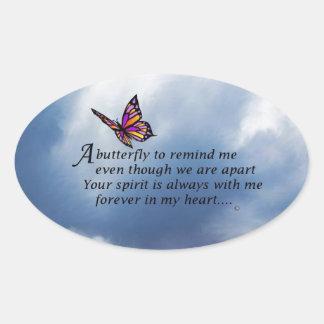 Poema del monumento de la mariposa colcomanias de oval personalizadas