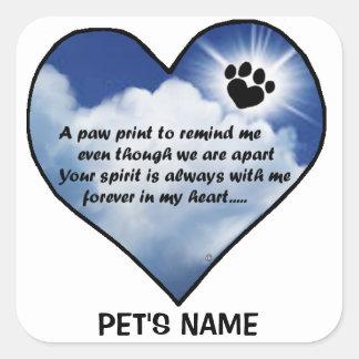 Poema del monumento de Pawprint Pegatina Cuadrada