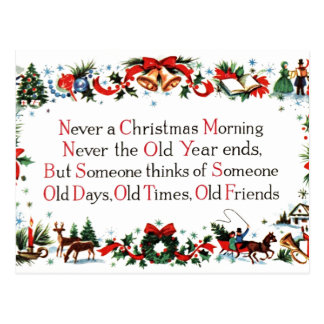 Poema del navidad del vintage postales