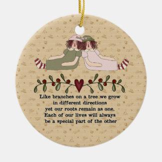Poema del ornamento de la hermana adorno redondo de cerámica