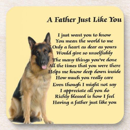 Poema del padre del perro de pastor alemán posavasos de bebida