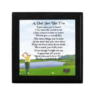 Poema del papá - diseño del golf joyero cuadrado pequeño