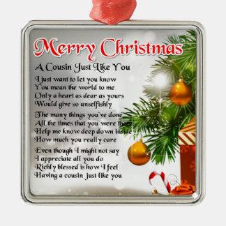 Poema del primo - diseño del navidad adorno navideño cuadrado de metal