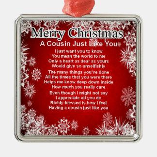 Poema del primo - diseño del navidad adorno cuadrado plateado