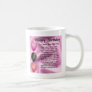 Poema del primo - rosa - feliz cumpleaños taza clásica