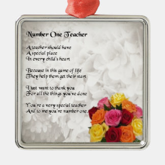 Poema del profesor - diseño de las flores adorno cuadrado plateado