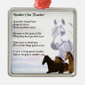 Poema del profesor - diseño de los caballos adorno cuadrado plateado