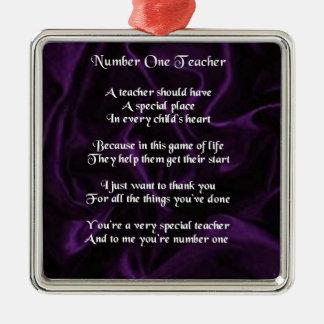 Poema del profesor - diseño de seda púrpura adorno cuadrado plateado