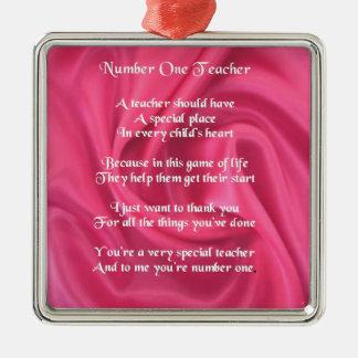 Poema del profesor - diseño de seda rosado adorno cuadrado plateado