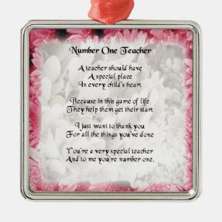 Poema del profesor - diseño floral rosado del adorno cuadrado plateado