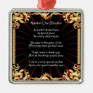 Poema del profesor -   diseño negro adorno cuadrado plateado
