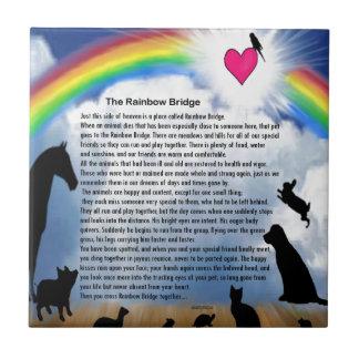 Poema del puente del arco iris azulejo cuadrado pequeño