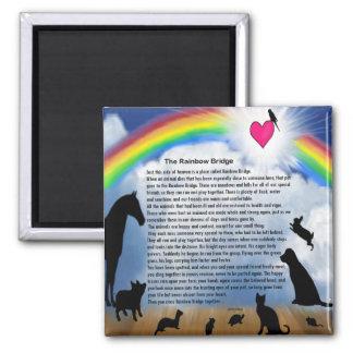 Poema del puente del arco iris imán de frigorífico