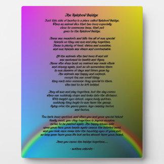 Poema del puente del arco iris placa de madera