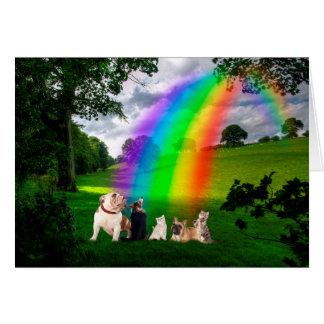 Poema del puente del arco iris tarjeta de felicitación