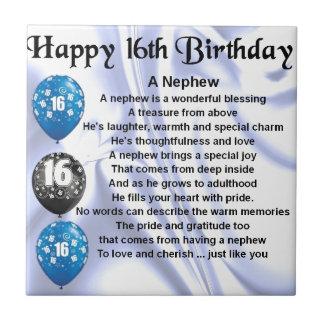 Poema del sobrino - décimosexto cumpleaños azulejo cuadrado pequeño