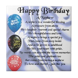 Poema del sobrino - feliz cumpleaños azulejo cuadrado pequeño