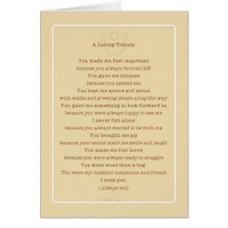 Poema del tributo del perro de la pérdida del tarjeta de felicitación