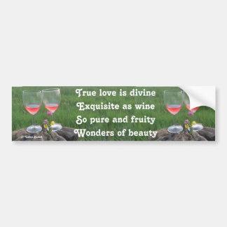 Poema del vino de la pegatina para el parachoques  pegatina para auto