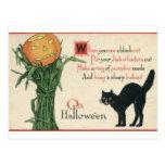 Poema del vintage de Halloween del gato negro Tarjetas Postales