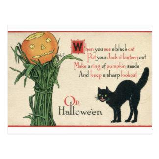 Poema del vintage de Halloween del gato negro Postal