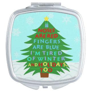 Poema divertido del navidad del embaucamiento de espejo maquillaje