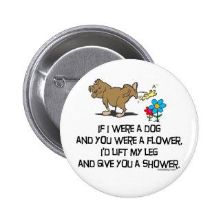 Poema divertido del perro pin redondo de 2 pulgadas
