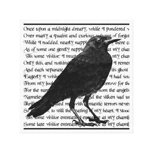 Poema Edgar Allan Poe del cuervo Impresiones En Lona Estiradas