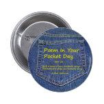 Poema en su botón del día del bolsillo pin