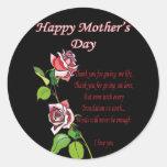 Poema feliz del día de madre pegatina redonda