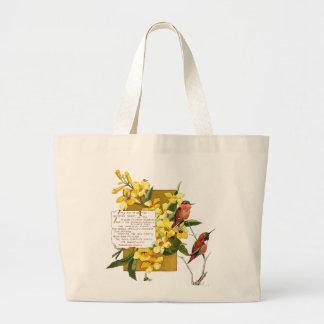 Poema floral de las flores de trompeta del pájaro bolsa tela grande