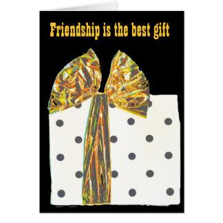 Poema inspirado de la amistad de la cinta del oro tarjeta pequeña
