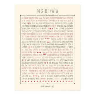 Poema inspirado de los desiderátums postales