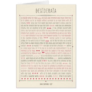 Poema inspirado de los desiderátums tarjeta de felicitación
