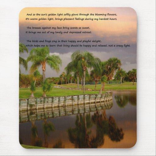 Poema inspirado feliz triste Mousepad del lago sun Tapetes De Ratón