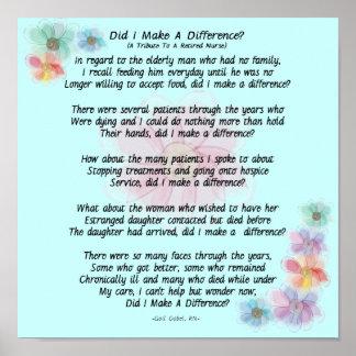 """¿Poema jubilado de la enfermera """"diferencié? """" Posters"""