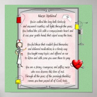 Poema jubilado del arte de la lona de la enfermera póster