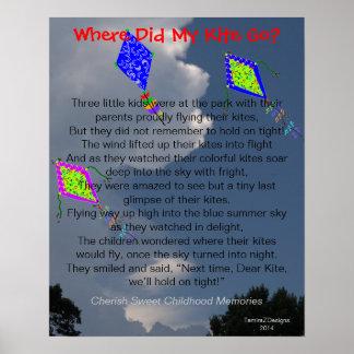 Poema mullido de tres nubes de las cometas póster
