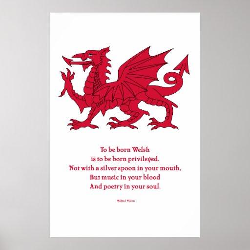 Poema nacido Galés con el dragón Póster