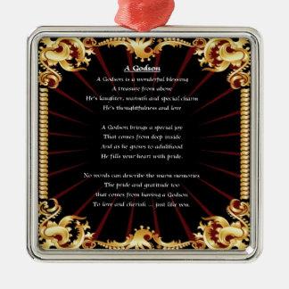 Poema negro del ahijado del diseño adorno navideño cuadrado de metal
