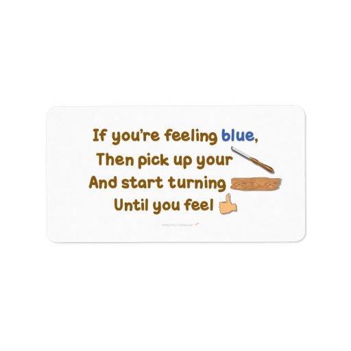 Poema oblicuo de Woodturning del azul Etiqueta De Dirección