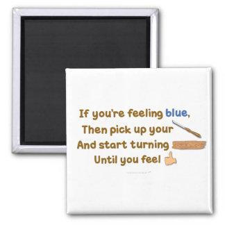 Poema oblicuo de Woodturning del azul Imán Cuadrado